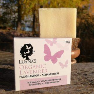 Laventeli shampoopala normaalista kuivaan hiuspohjaan - Luanas Organic Products