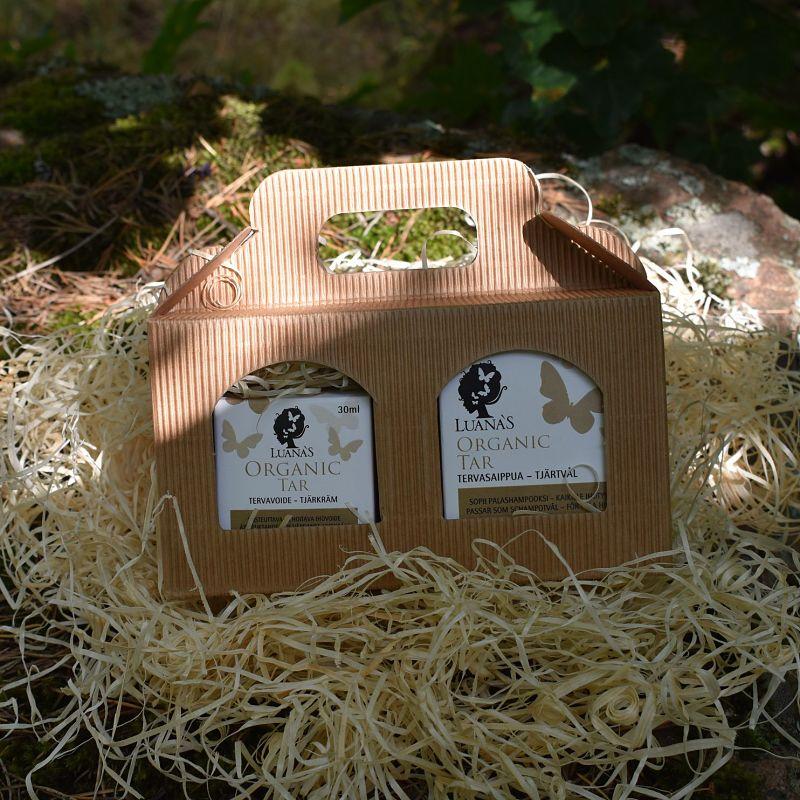yrityslahja Luanas Organic tervavoide ja tervasaippua paketissa